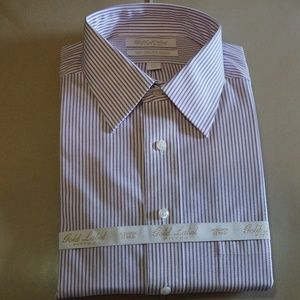 Gold Label-Striped Fitted Long Sleeve Dress Shirt